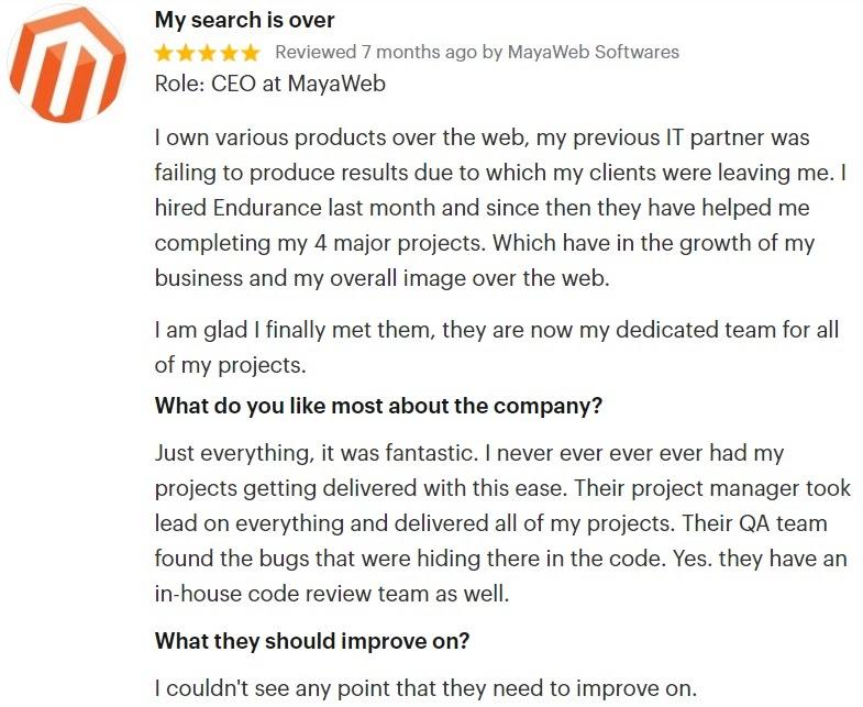 Maya Web Review of Endurance Softwares